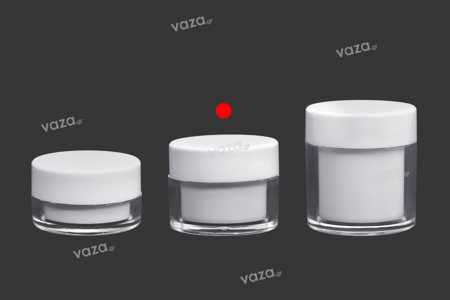 Βαζάκι 30 ml ακρυλικό σε λευκό χρώμα με εσωτερικό παρέμβυσμα στο καπάκι και πλαστικό στο βάζο - 6 τμχ