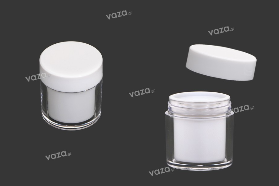 Βαζάκι 50 ml ακρυλικό σε λευκό χρώμα με εσωτερικό παρέμβυσμα στο καπάκι και πλαστικό στο βάζο - 6 τμχ