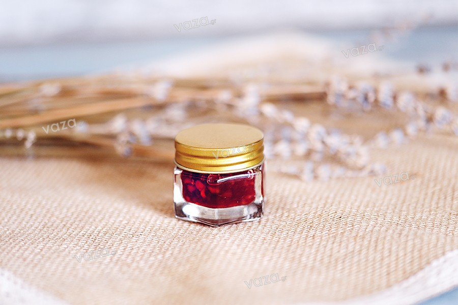 Βαζάκι 15 ml γυάλινο εξάγωνο με χρυσό καπάκι αλουμινίου (και εσωτερικό παρέμβυσμα στο καπάκι)