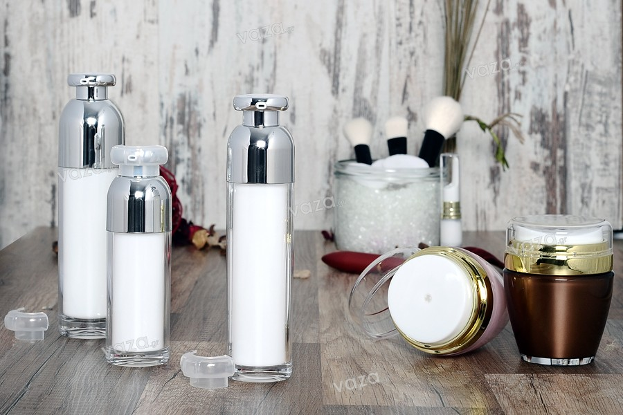 Luxury bottle 100 ml acrylic (transparent exterior and white inside) with  cream pump and protective cap
