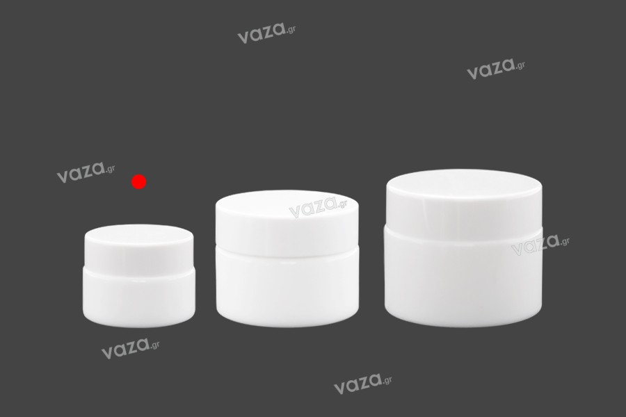 Βάζο για κρέμα 15 ml γυάλινο, λευκό με καπάκι, liner και πλαστικό παρέμβυσμα
