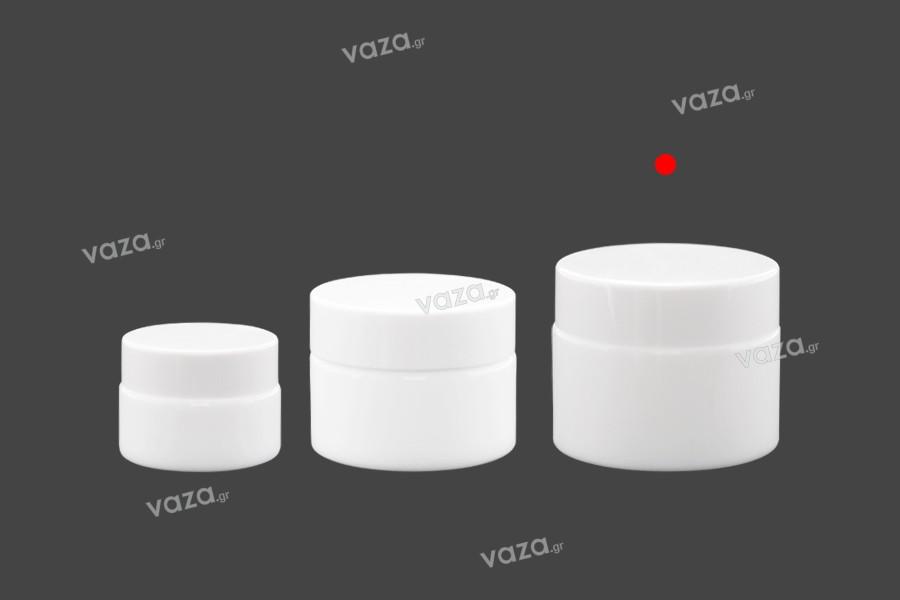 Βάζο για κρέμα 50 ml γυάλινο, λευκό με καπάκι, liner και πλαστικό παρέμβυσμα