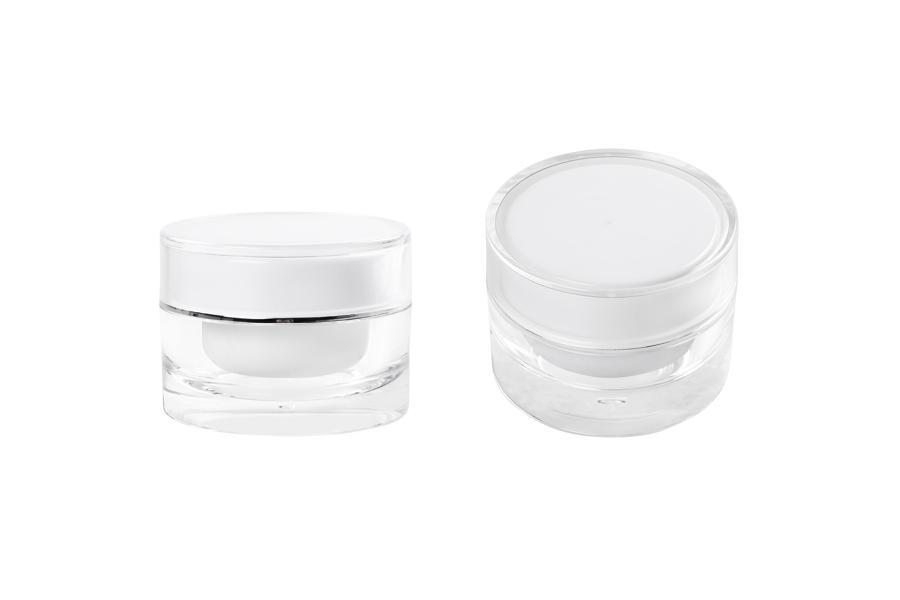 Bain de luxe 30 ml rond, acrylique avec joint interne sur le couvercle et plastique dans le pot - 12 pcs