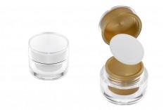 Bain rond de luxe de 5 ml, acrylique avec joint interne sur le couvercle et plastique dans le pot - 12 pcs