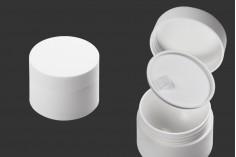 Pot à double paroi en plastique de 50 ml avec joint à l'intérieur du couvercle et plastique dans le pot