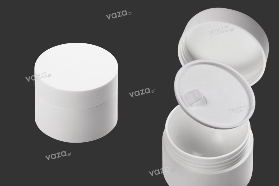 Βάζο 50 ml πλαστικό δίπατο με εσωτερικό παρέμβυσμα στο καπάκι και πλαστικό στο βάζο