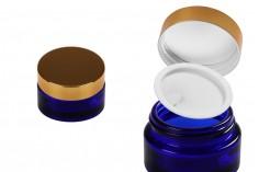 Βαζάκι γυάλινο 20 ml μπλε με πλαστικό παρέμβυσμα στο βάζο και εσωτερικό στο καπάκι