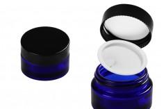 Βαζάκι γυάλινο 30 ml μπλε με πλαστικό παρέμβυσμα στο βάζο και εσωτερικό στο καπάκι