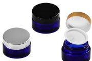 Βαζάκι γυάλινο 50 ml μπλε με πλαστικό παρέμβυσμα στο βάζο και εσωτερικό στο καπάκι