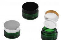 Βαζάκι γυάλινο 20 ml πράσινο με πλαστικό παρέμβυσμα στο βάζο και εσωτερικό στο καπάκι