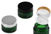 Βαζάκι γυάλινο 50 ml πράσινο με πλαστικό παρέμβυσμα στο βάζο και εσωτερικό στο καπάκι
