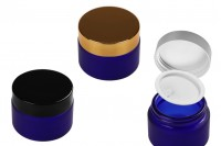 Jar of 20 ml blue sandblast with plastic gasket and inside the lid