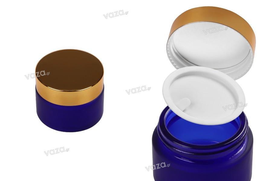 Βαζάκι γυάλινο 20 ml μπλε αμμοβολής με πλαστικό παρέμβυσμα στο βάζο και εσωτερικό στο καπάκι