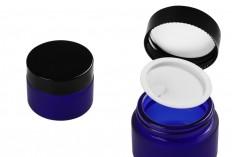 Βαζάκι γυάλινο 30 ml μπλε αμμοβολής με πλαστικό παρέμβυσμα στο βάζο και εσωτερικό στο καπάκι