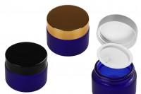 Βαζάκι γυάλινο 50 ml μπλε αμμοβολής με πλαστικό παρέμβυσμα στο βάζο και εσωτερικό στο καπάκι