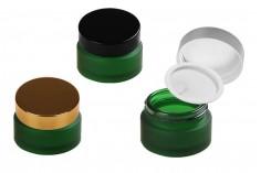 Βαζάκι γυάλινο 20 ml πράσινο αμμοβολής με πλαστικό παρέμβυσμα στο βάζο και εσωτερικό στο καπάκι