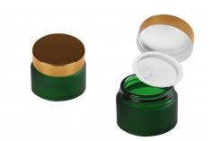 Βαζάκι γυάλινο 30 ml πράσινο αμμοβολής με πλαστικό παρέμβυσμα στο βάζο και εσωτερικό στο καπάκι