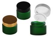 Βαζάκι γυάλινο 50 ml πράσινο αμμοβολής με πλαστικό παρέμβυσμα στο βάζο και εσωτερικό στο καπάκι