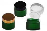 Pot de 50 ml en verre sablé vert avec joint en plastique dans le vase et à l' intérieur du couvercle