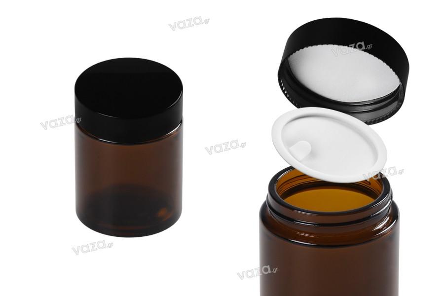 Pot en verre de 100 ml- caramel avec joint en plastique dans le pot et à l' intérieur du couvercle