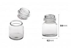 Βαζάκι 100 ml γυάλινο, διάφανο με καπάκι και αεροστεγές κλείσιμο