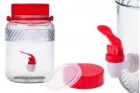 Βάζο γυάλινο 3 λίτρα με πλαστικό βρυσάκι για αποθήκευση τροφίμων και ποτών