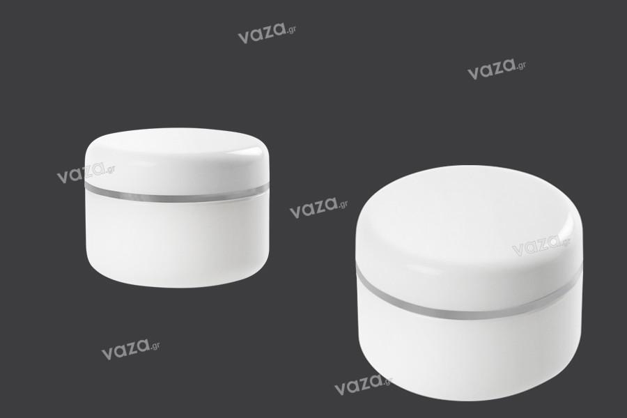 Βάζο 100 ml πλαστικό με ασημί ρίγα στο καπάκι και παρέμβυσμα - 12 τμχ