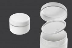 Pot de 100 ml en plastique avec bande argentée sur le couvercle et le joint - 12 pcs