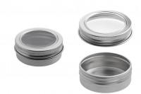 Pot en aluminium 30 ml argent avec fenêtre sur couvercle - 12 pcs