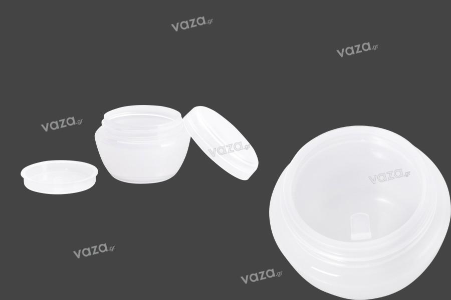 Βάζο για κρέμα 10 ml ακρυλικό, ημιδιάφανο με πλαστικό παρέμβυσμα - 12 τμχ