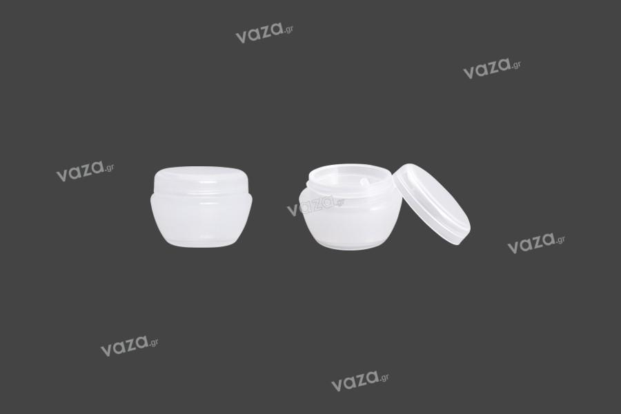Βαζάκι για κρέμα 5 ml ακρυλικό, ημιδιάφανο με πλαστικό παρέμβυσμα - 12 τμχ