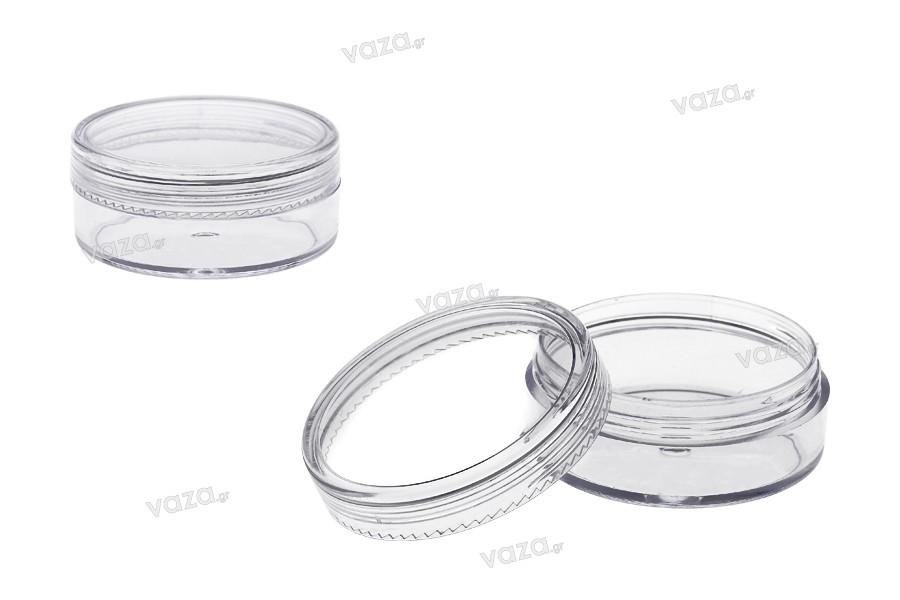 Βαζάκι 20 ml διάφανο, ακρυλικό 49x21 mm με καπάκι - 12 τμχ