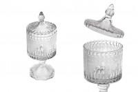 Bocal décoratif pour bonbon et gâteaux en verre sur pied avec motifs en relief et couvercle 245x97 mm