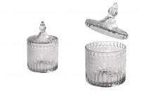 Bocal décoratif en verre avec motifs en relief et couvercle 154x96 mm