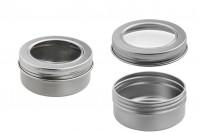Pot en aluminium 50 ml argent avec fenêtre sur couvercle - 12 pcs
