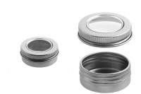 Pot en aluminium 15 ml argent à couvercle avec fenêtre – pack de 12 pièces