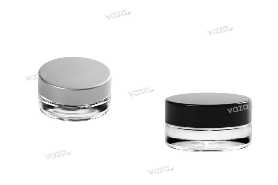 Pot en verre de 5ml, transparent avec couvercle et joint à l' intérieur