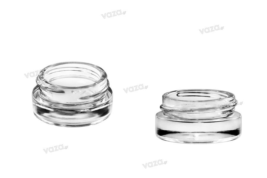 Βαζάκι 5 ml γυάλινο, διάφανο με καπάκι και εσωτερικό παρέμβυσμα