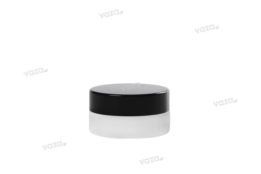 Pot de 5 ml en verre, sablé avec couvercle et joint intérieur