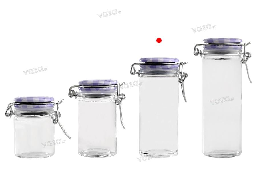 Βάζο 90 ml γυάλινο στρογγυλό 108x45 mm με αεροστεγές κλείσιμο (σύρμα και λάστιχο στο καπάκι)