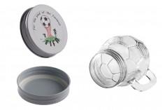 Βάζο 450 ml γυάλινο σε σχήμα μπάλας 126x94 mm με ασημί καπάκι