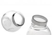 Βάζο 2000 ml γυάλινο που πλαγιάζει με δύο βάσεις και ασημί-διάφανο καπάκι