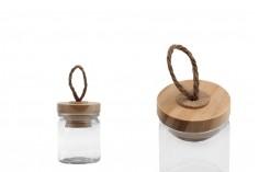Βάζο 40 ml γυάλινο στρογγυλό 62x45 mm με ξύλινο καπάκι και κορδόνι