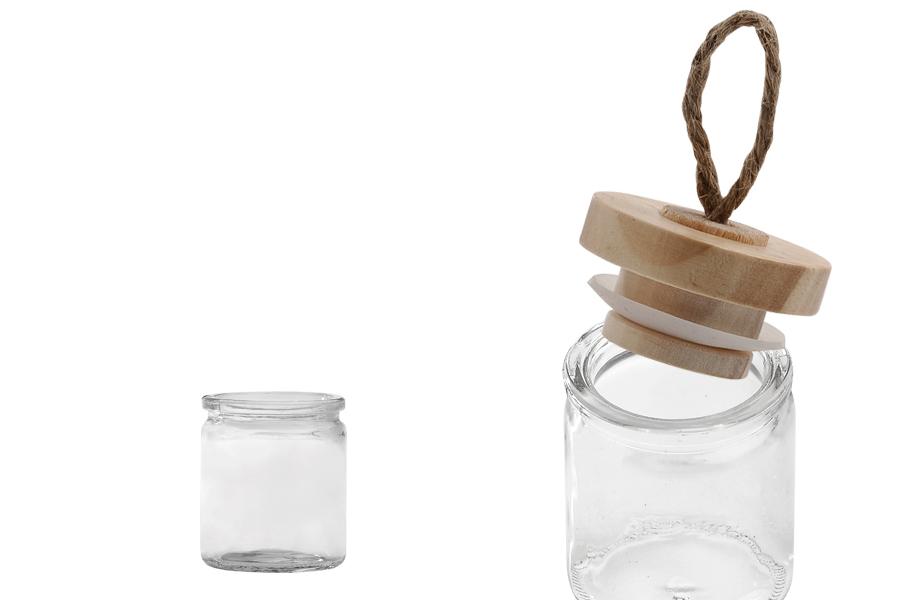 Pot de verre rond de 62 ml de 45 ml avec couvercle en bois et cordon