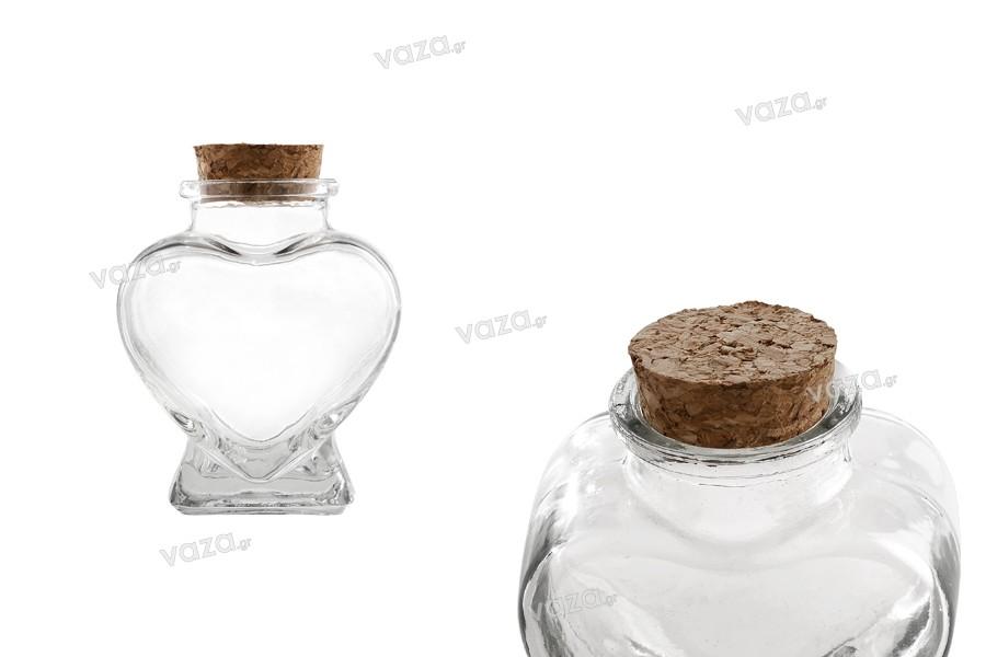 Βάζο γυάλινο σε σχήμα καρδιάς 75 ml για γάμο και βάπτιση με φελλό