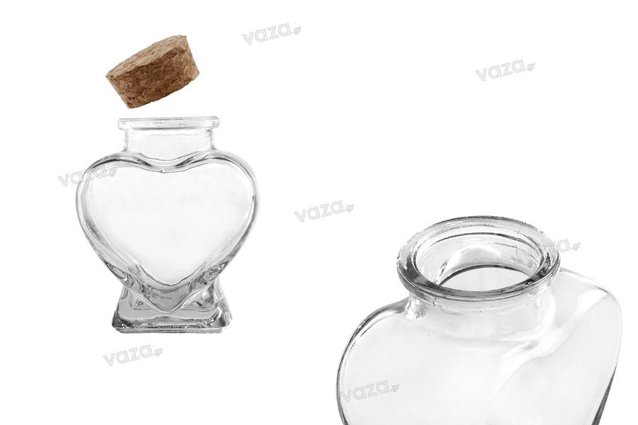 Vase en verre de 75 ml en forme de coeur pour baptême et mariage avec liège