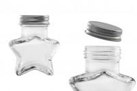 Βαζάκι 60 ml γυάλινο σε σχήμα αστεριού με ασημί καπάκι αλουμινίου