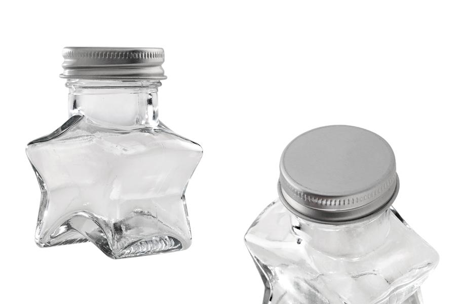Flacon en forme de étoile en verre de 60 ml avec capuchon en aluminium argenté