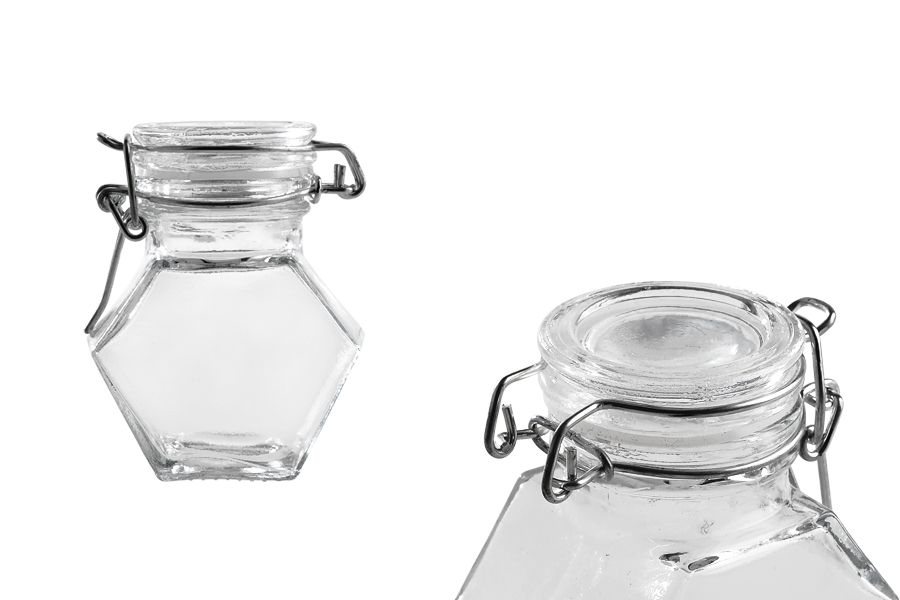 Βαζάκι 100 ml γυάλινο, πολύγωνο με αεροστεγές κλείσιμο (σύρμα και λάστιχο στο καπάκι)