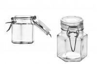 Pot hexagonal de 100 ml en verre- 53x80 mm avec fermeture hermétique (fil et caoutchouc sur le couvercle)